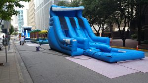 water slide with pool double lane